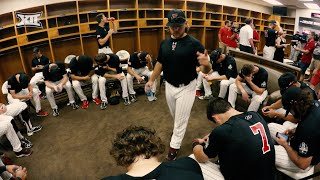 Texas tech baseball players spend downtime in the locker room playing their favorite game off of field, mafia.