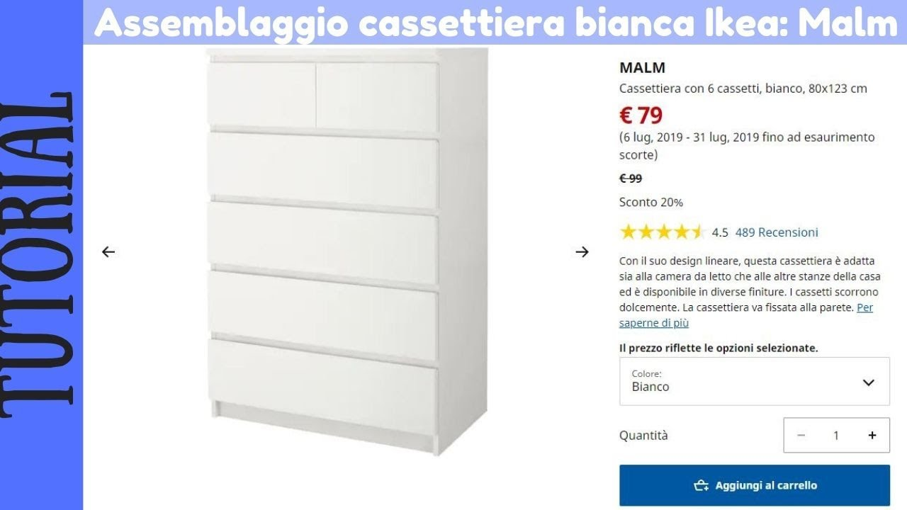Malm Cassettiera 2 Cassetti.Tutorial Montaggio Cassettiera Ikea Malm Bianca Con 6 Cassetti
