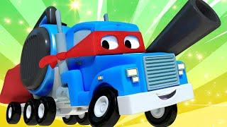 Детские мультфильмы с грузовиками Летний поезд Трансформер Карл в Автомобильный Город