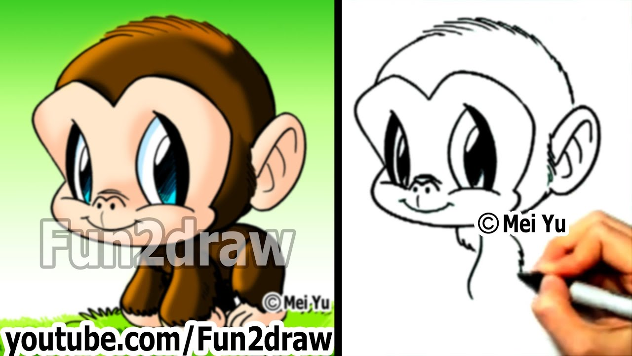 Chimpanzee   How To Draw A Monkey   Draw Animals   Cute Art   Fun2draw    YouTube