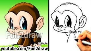 Chimpanzee - How to Draw a Monkey - Draw Animals - Cute Art - Fun2draw