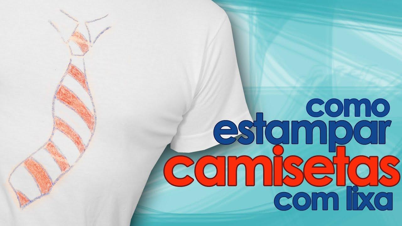 c89404b5e2 Como estampar camiseta com lixa (artesanato) - YouTube