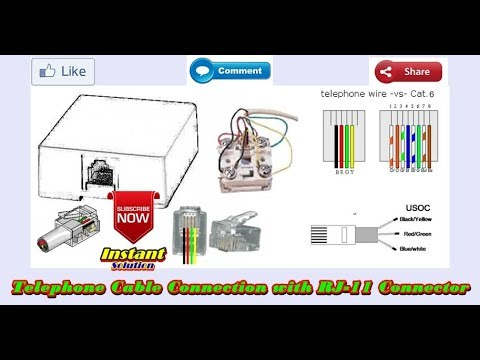How To Make A Telephone Cable Cat 6 Connection RJ11 in Hindi
