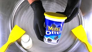 Ice Cream Rolls | how to make Mini OREO Cookies to rolled Ice Cream - roll fried Ice Cream ASMR Food