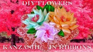 DIY Kanzashi flores tocados en cintas - Kanzashi flowers headdresses ribbons