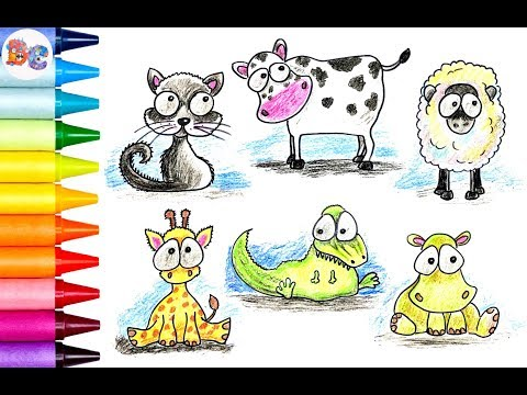 How to draw Funny Animals: a Cat, a Cow, a Sheep, a Giraffe, a Crocodile, a Hippo