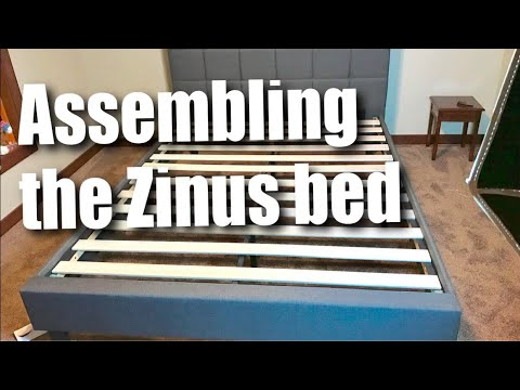 How to setup a Zinus Dark Gray Upholstered Square Stitched Queen