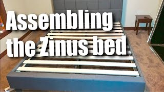 How to setup a Zinus Dark Gray Upholstered Square Stitched Queen sized Platform Bed and review