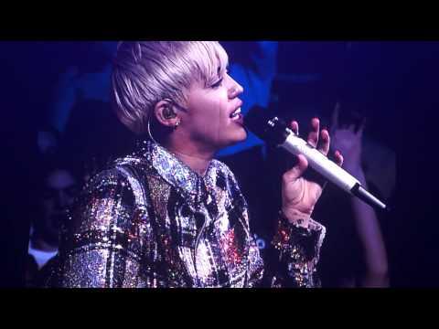 Miley Cyrus crying singing Summer Time Sadness by Lana Del Rey Boston BANGERZ 2014
