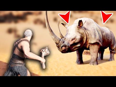 FIGHTING A GIANT RHINO! (Conan Exiles Gameplay)