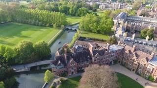 Cambridge university  by air - low altitude flight