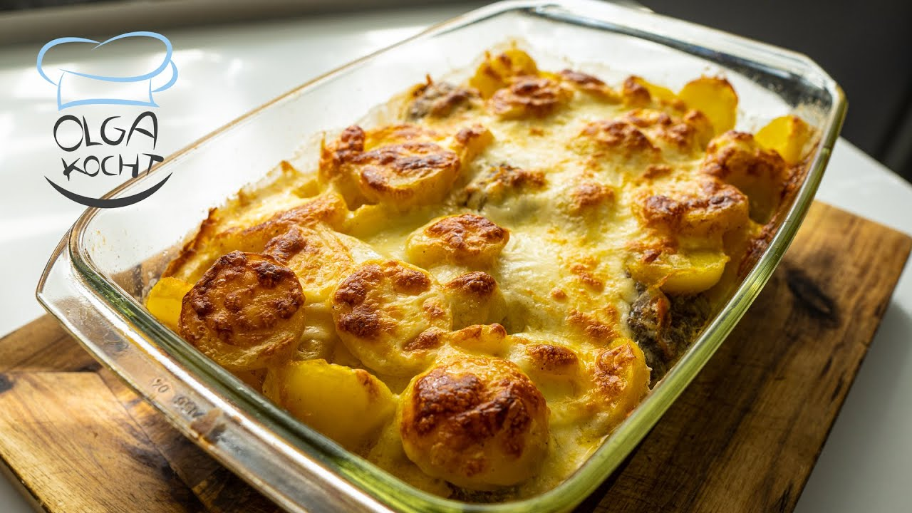 Kartoffelauflauf mit Hackbällchen und Gouda Käse | Auflaufform | Günstig & Schnell