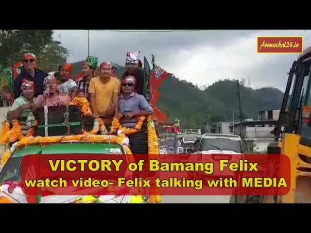 Arunachal Pradesh - Bamang Felix, BJP MLA talking with media after wining Nyapin assembly seat