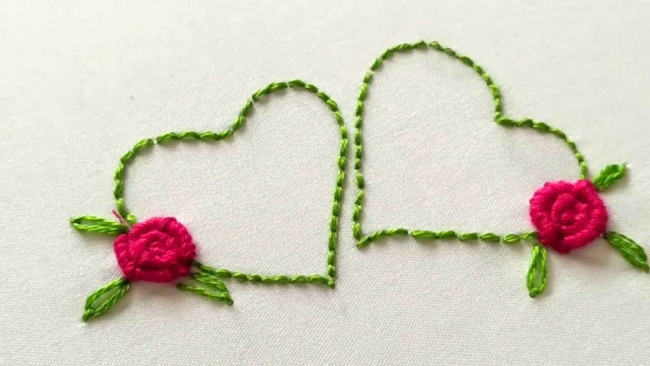 Hand Embroidery Design For Valentine S Day Heart Shape And Bullion