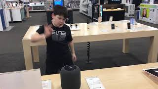 """Torrin dancing to Britney Spears """"Circus"""" at Best Buy using Apple Home Pod"""