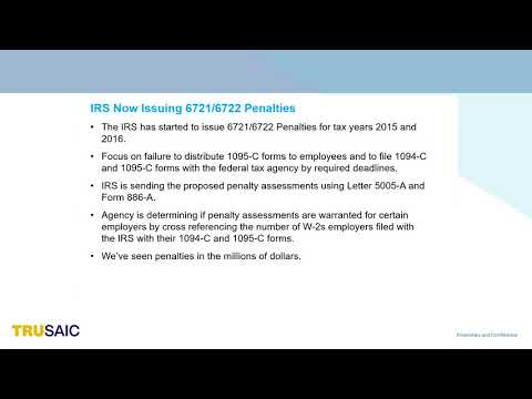 What are 6721 6722 ACA Penalty Assessments - Webinar - Trusaic