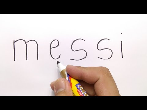 VERY EASY ! How to turn word MESSI into CARTOON for kids / learn how to draw