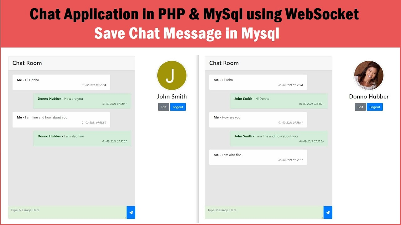 Chat Application in PHP & MySQL using WebSocket - Save Chat Message in Mysql