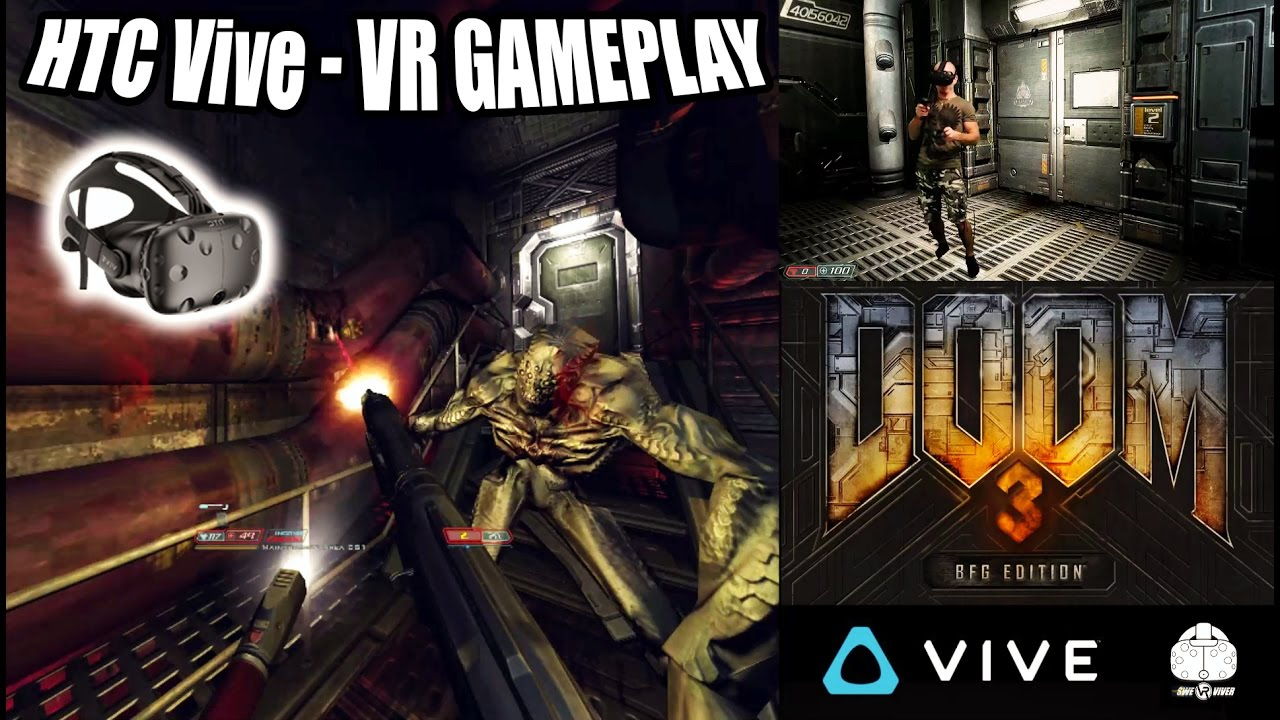 DOOM 3 BFG VR Gameplay on HTC Vive with roomscale and motion controller  tracking in Virtual Reality!