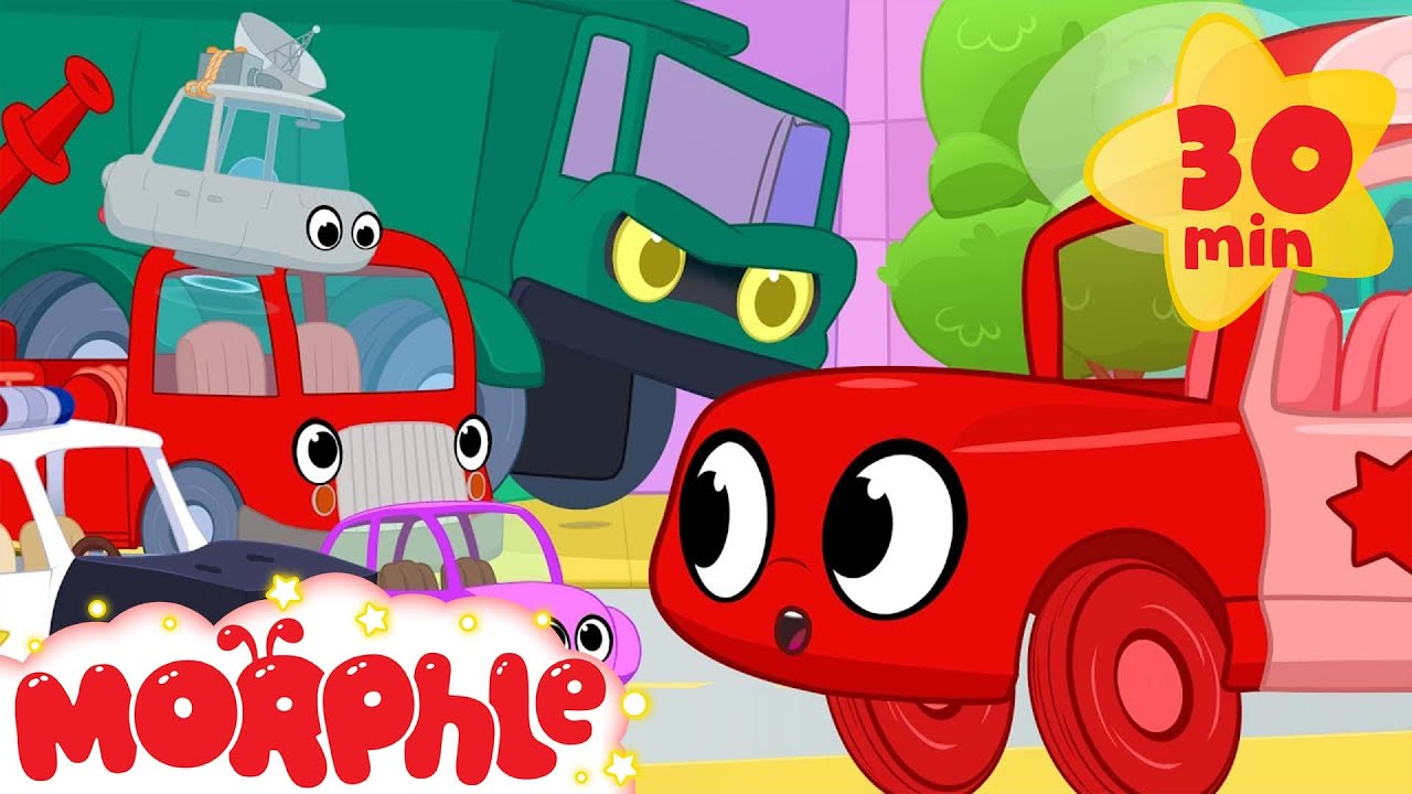 Morphle vs vehicle bandits. Ambulance,  fire truck, dump truck, police car and many other vehicles!