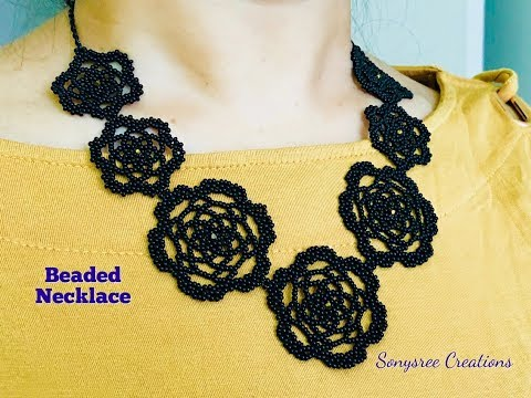 Black Melody Necklace.Beaded Necklace Tutorial💞