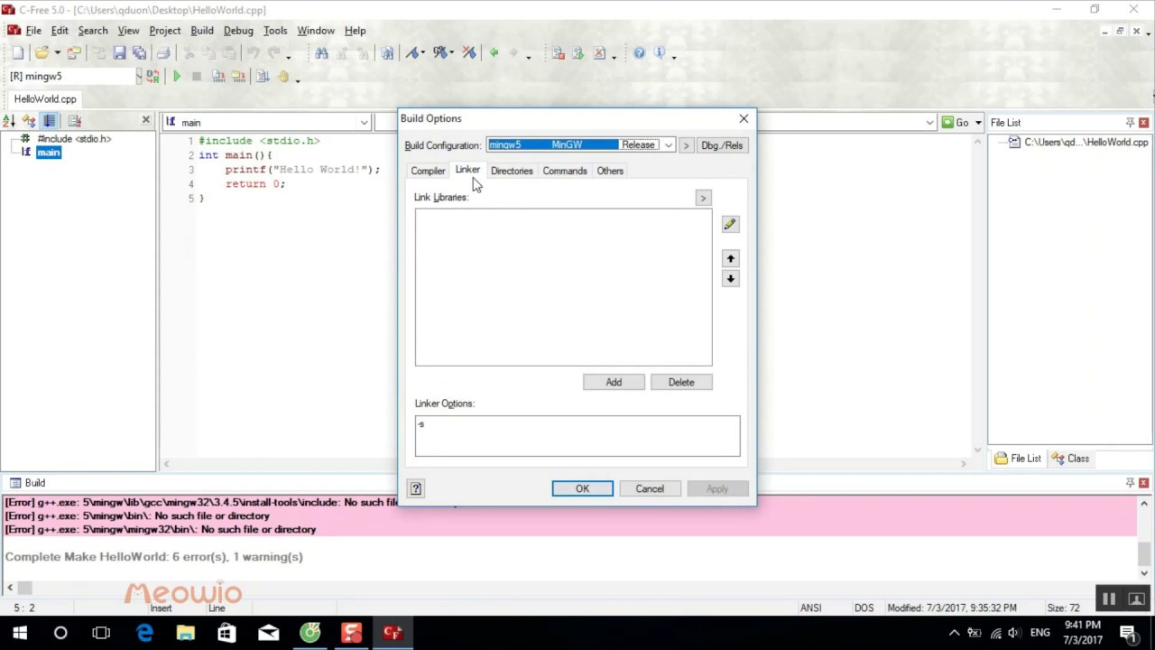 C-Free 5 0 - Fix mingw error: No such file or directory