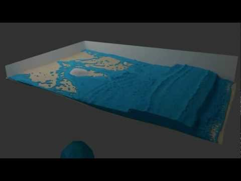 Blender sph wave test v03 rendered with Cycles