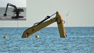 UPDATE: CAT Elevated Excavator #mobydig Submerged, at The Rampion Wind Farm Construction.
