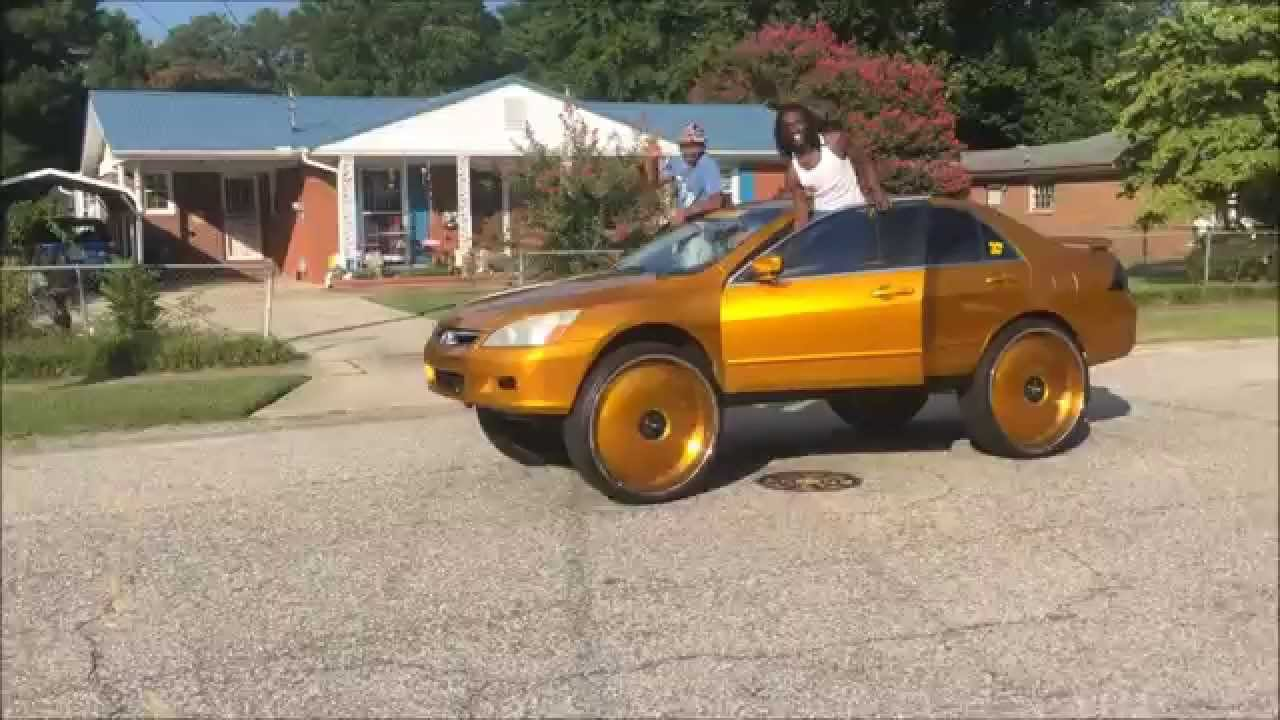 """Candy Gold Honda Accord On 30"""" DUB Floaters - YouTube"""