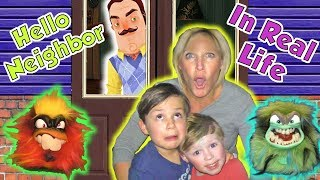 Hello Neighbor in Real Life in the Dark Toy Scavenger  Hunt with Grumblies