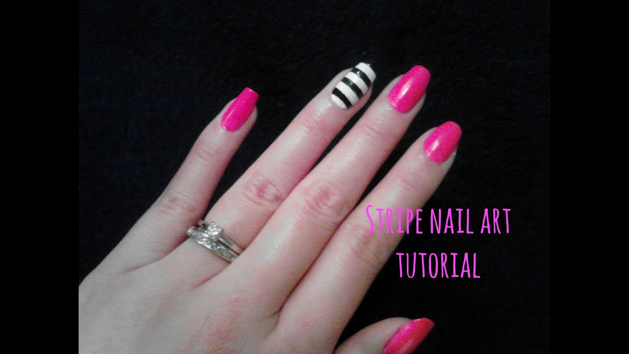 DIY Easy Stripe Nail Art Tutorial! Chic Black and White Stripes. - DIY Easy Stripe Nail Art Tutorial! Chic Black And White Stripes