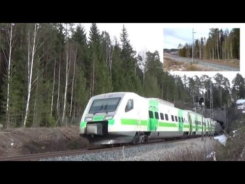 Finnish DOUBLE Pendolino high speed train in Karis !!!