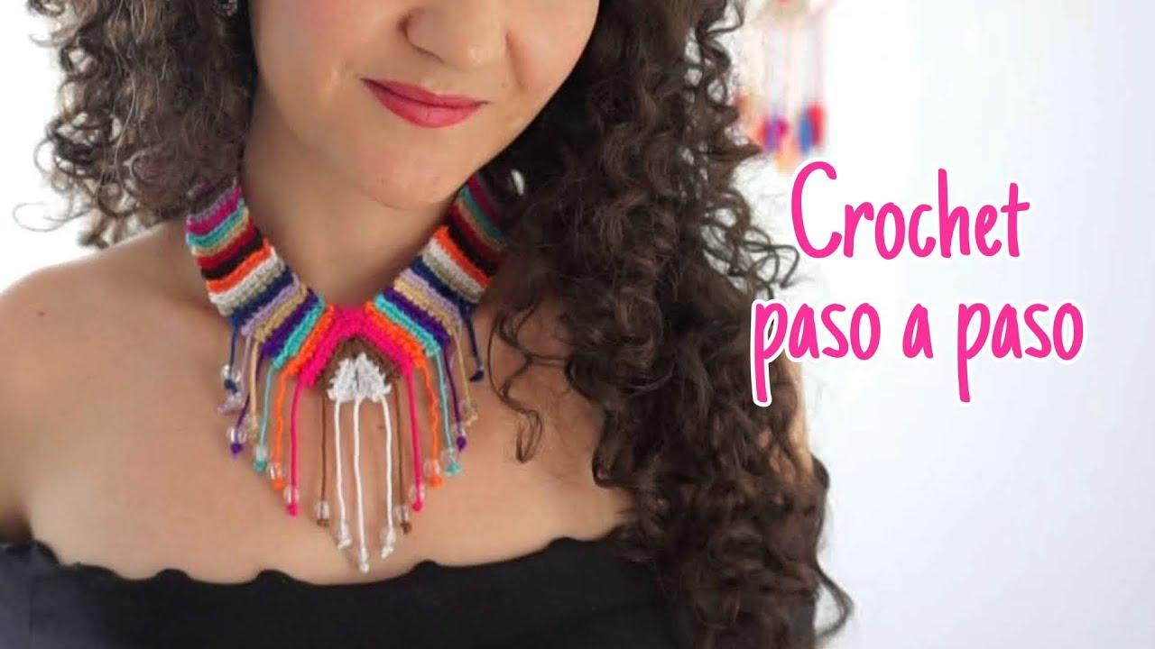 Collar étnico a crochet - con sobrantes de hilo