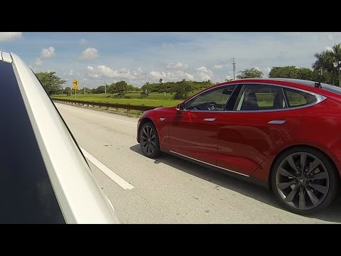 2013 Tesla Model S P85 vs 2014 BMW 335i with downpipe, intake, tune