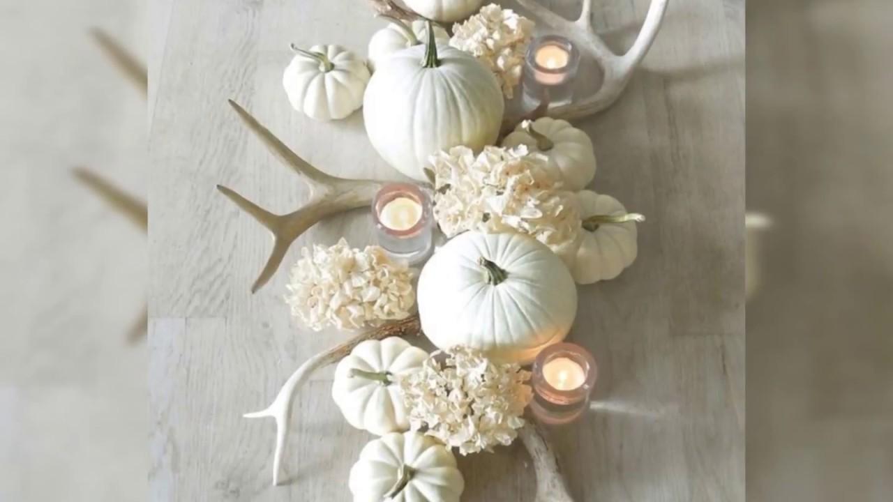 2018 Diy Fall Black And White Pumpkin Decor Centerpiece Halloween Decorating Ideas