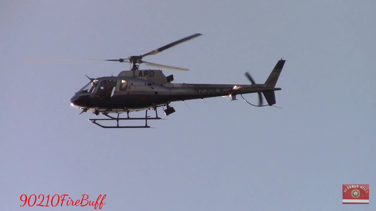 LAPD Helicopter Giving a Shout while Circling Around National Night Out