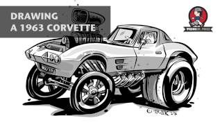 Drawing 63 Corvette Gasser Hot Rod CARtoon (iPad Pro, Apple Pencil, Procreate & Adobe Draw)