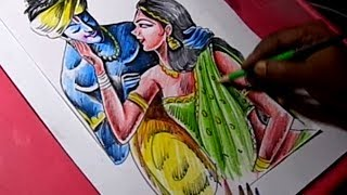 How to Draw Lord Krishna and Satyabhama Drawing