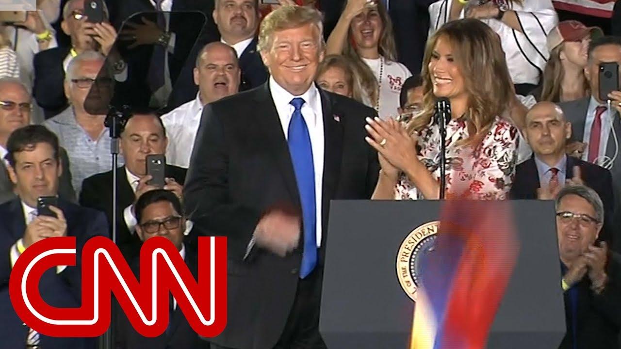 Trump, Melania greeted with Venezuelan flags, USA chants