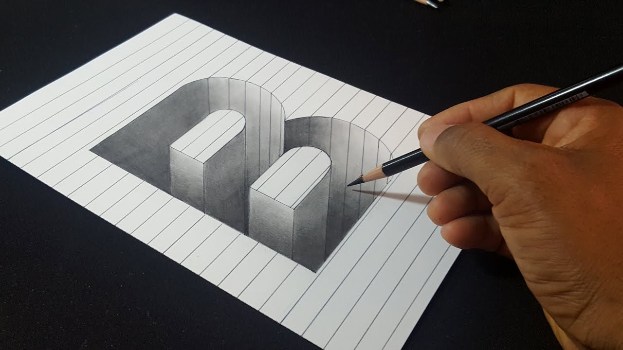 Easy Drawing! How to Draw 3D Hole Letter B on Line Paper | 3D