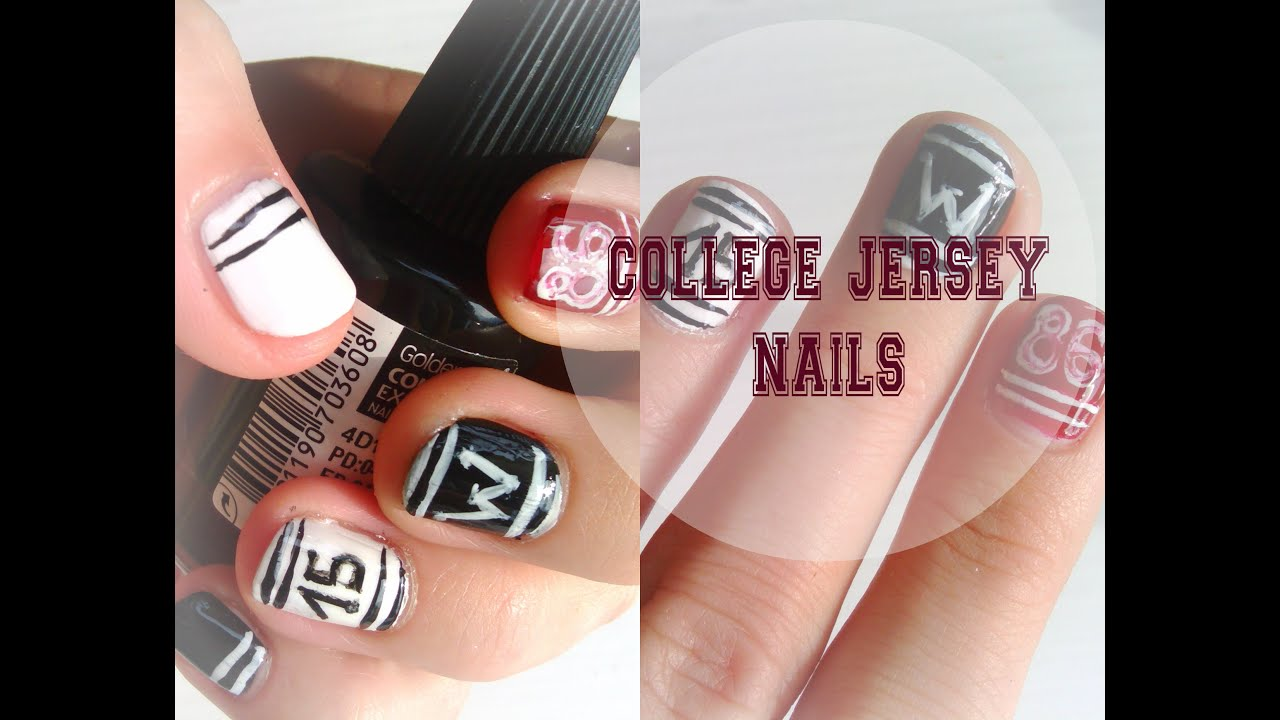 Cool Easy College Jersey Nail Art Or Back To School Nails Youtube