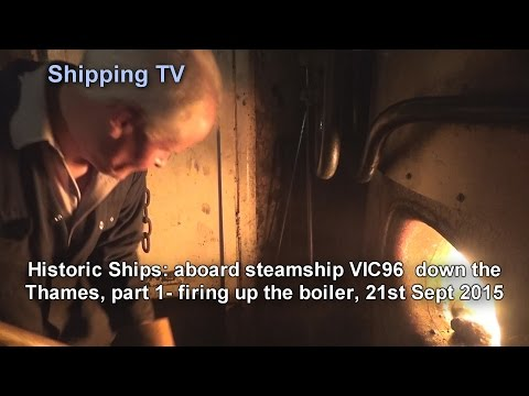Historic steamship VIC96 down the Thames - part 1, firing up.