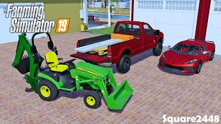 Renting A C8 Corvette | New Backhoe For JD1025R | Shed Garage Door | Homeowner | FS19
