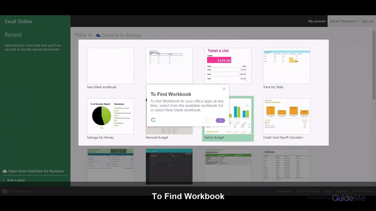 How to create a New Workbook In Excel Online @Office365 - YouTube