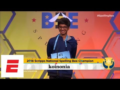 Scripps National Spelling Bee highlights: Karthik Nemmani wins it on 'koinonia' | ESPN