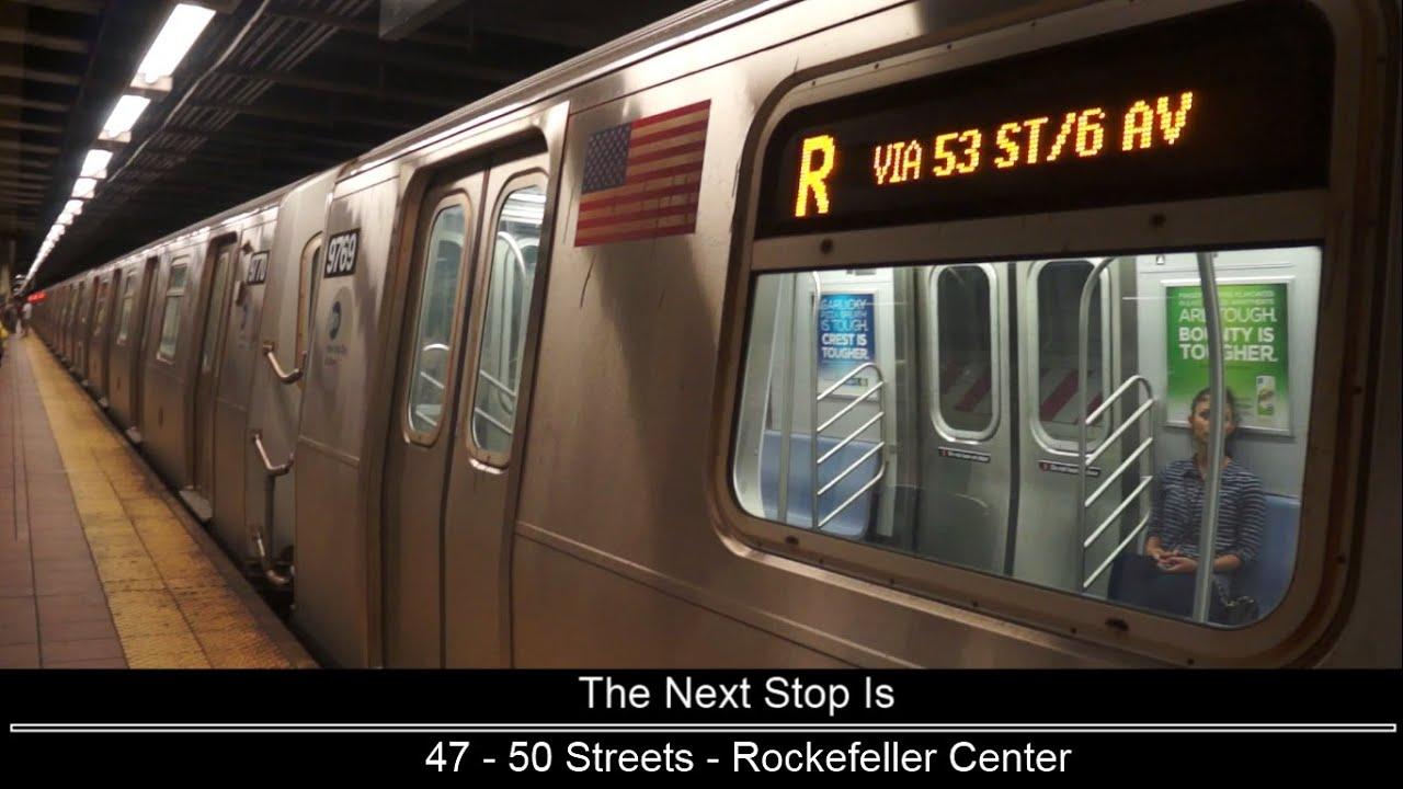 ᴴᴰ R160 - R train via V and B line announcements (via 53 St / 6 Ave) (Bay Ridge bound) - YouTube