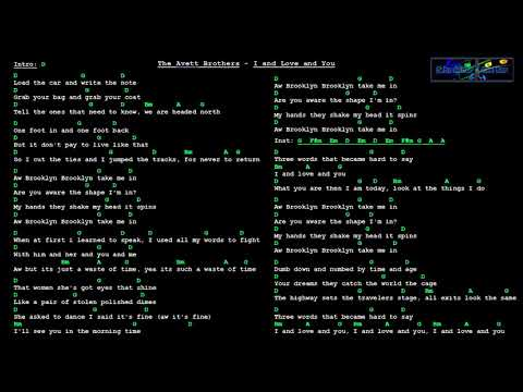 The Avett Brothers - I and Love and You (Chords and Lyrics)(Piano Track)