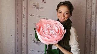 Пионовидная роза из гофрированной бумаги