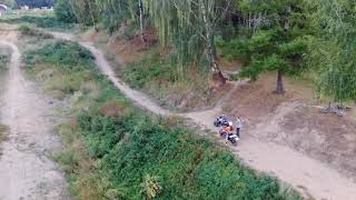 Квадроцикл VS Мотоцыкл, Кадра с дрона!