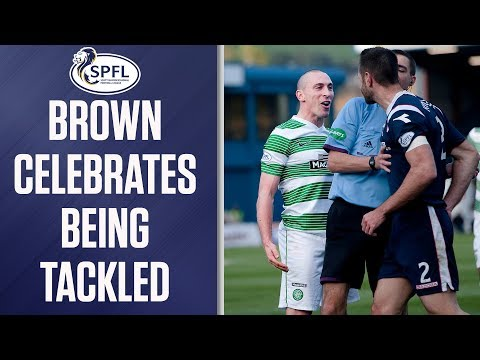 Scott Brown teases Mihael Kovacevic by sarcastically celebrating crunching tackle